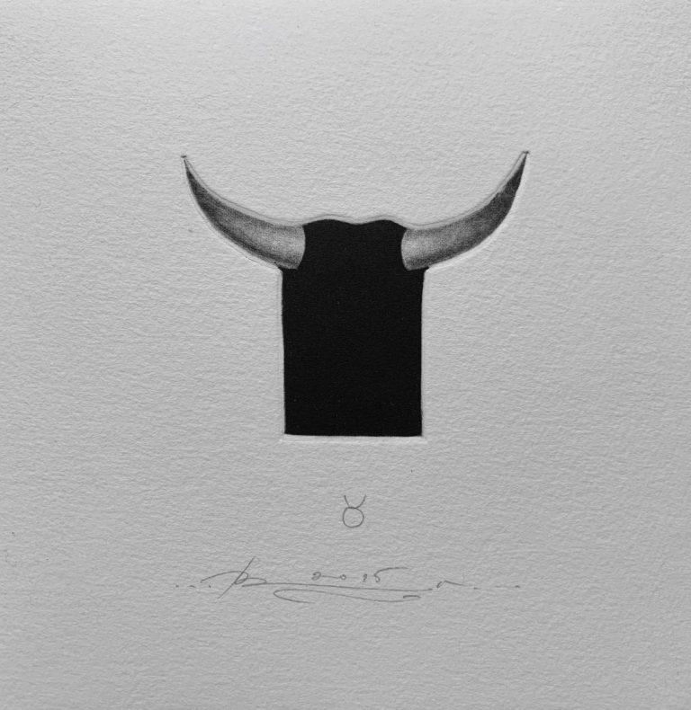 Зодиак 4 – Телец, 2015, mezzotint, 15 x 15 см.