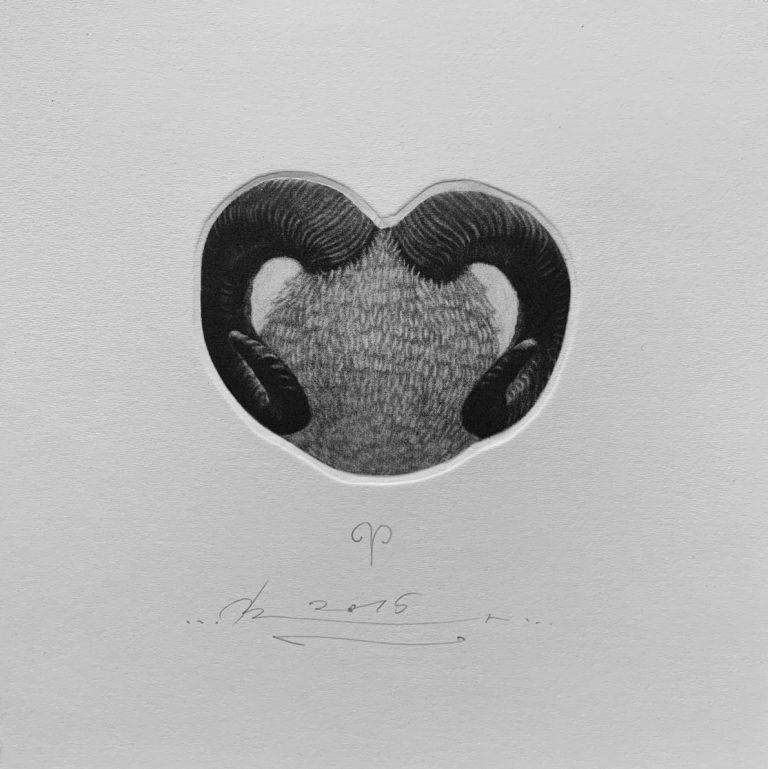Зодиак 3 – Овен, 2015, mezzotint, 15 x 15 см.