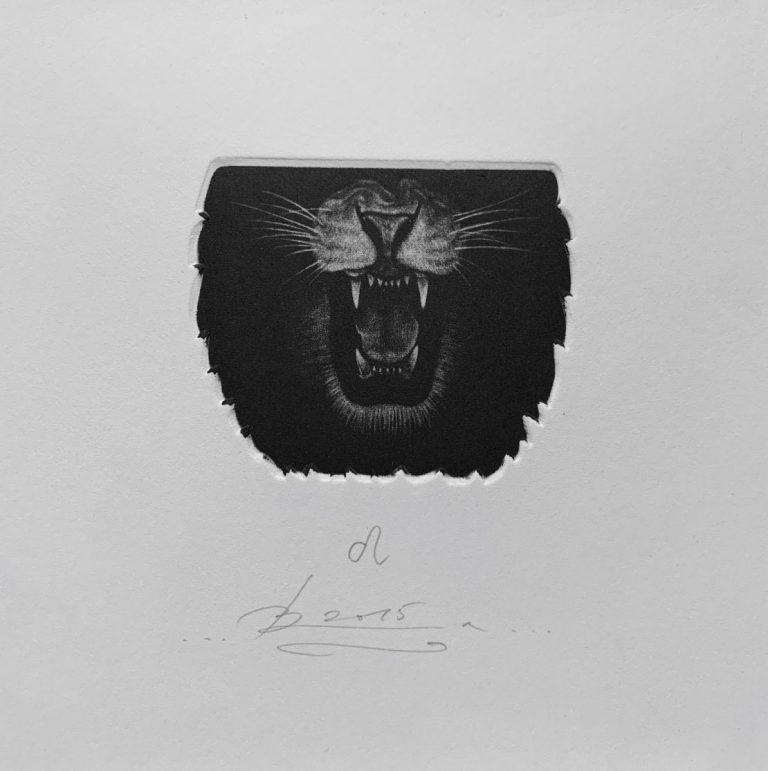 Зодиак 7 – Лъв, 2015, mezzotint, 15 x 15 см.