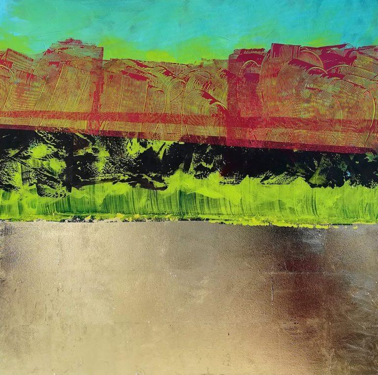 Зелено не Зелено, 2021, акрил, златен лист, платно, 100 x 100 см