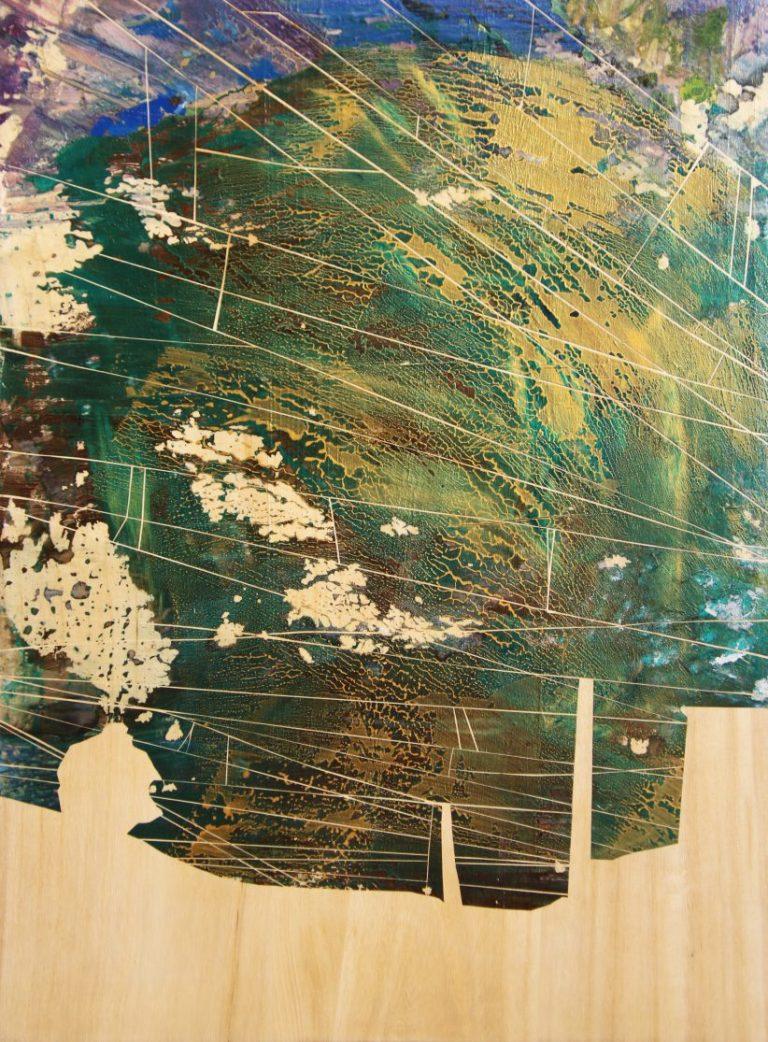 Светлина – по жицата, 2018, акрил върху дърво, 80 x 60 см, рамкирана