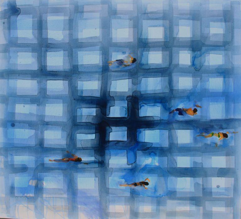Sea Grid 2, 2014, Acrylic on canvas, 100 х 120 cm.