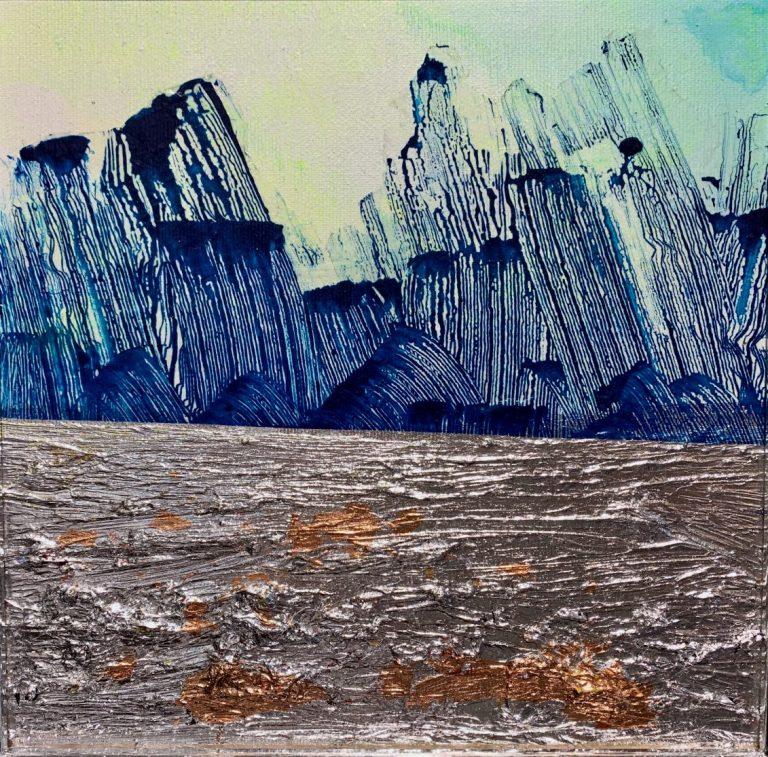 Silver horizon, 2020, mixed media on canvas, 25 х 25 cm.