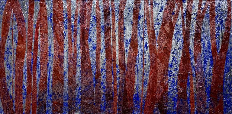 In the Woods, 2020, acrylic and silver leaf on canvas, 40 х 80 cm.