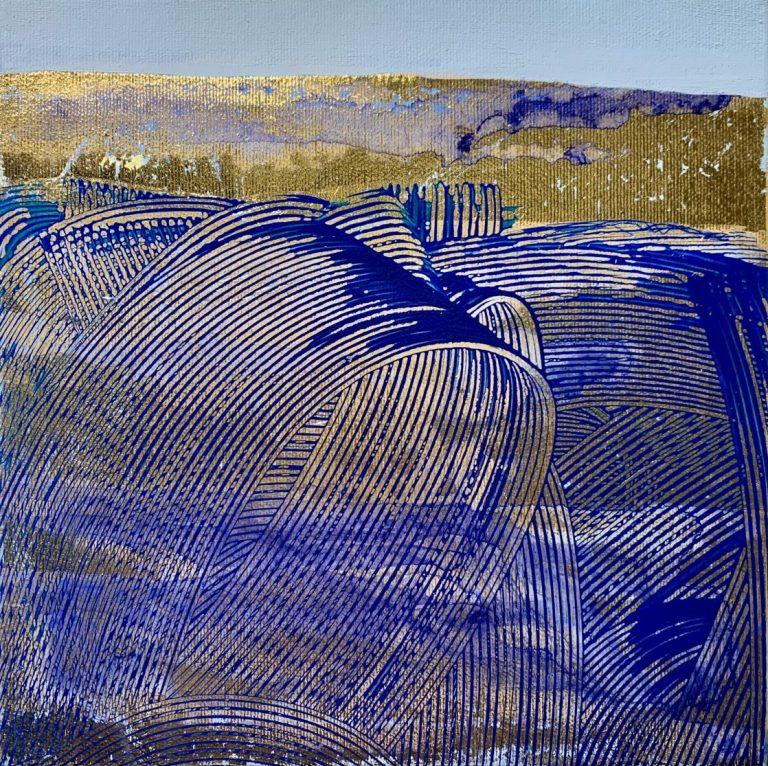 Golden Turnover, 2020, acrylic and foil on canvas, 25 х 25 cm.