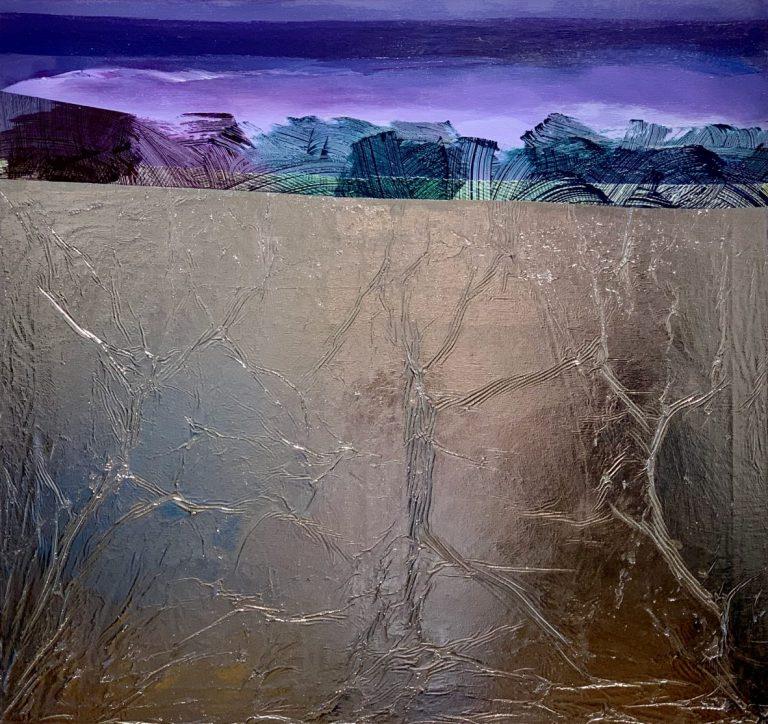 Виолетов пейзаж, 2020, акрил и фолио върху платно, 85 х 90 см.