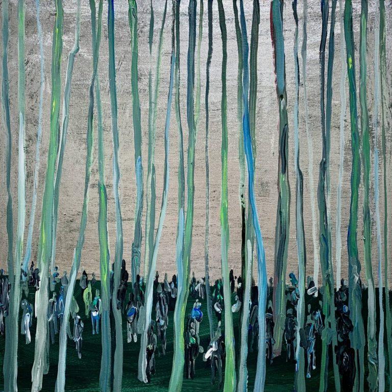 Тълпи в гората, 2020, акрил и фолио върху платно, 70 х 70 см.