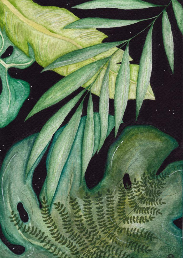 Noir, 2020, Watercolour and – printed on Fine Art Paper, 42 x 30 cm.