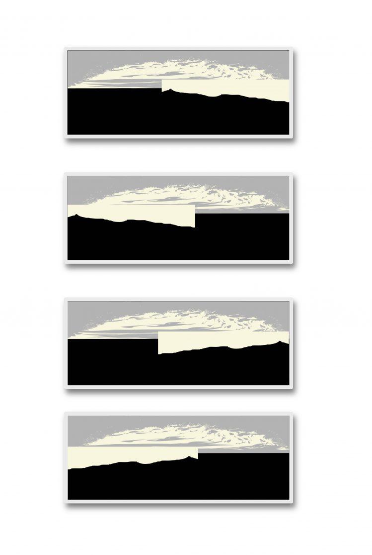 Observation, 2019, пигментен печат върху хартия, 4 части, 120 х 60 см, рамкирана
