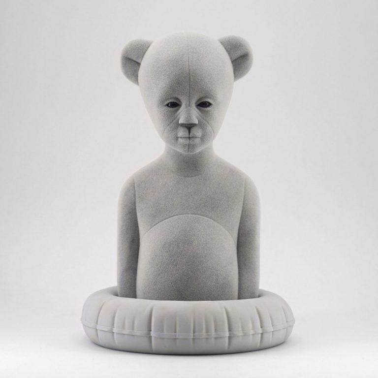 Polar Kid, Ash, 2020, Sculpture – Resin, flock, 30.0 × 21.0 × 19.5 cm.