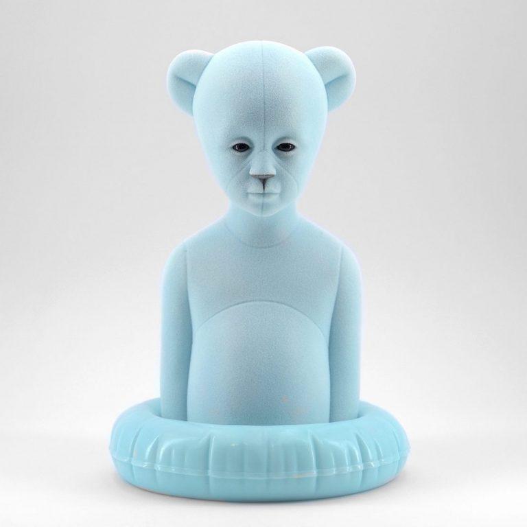 Polar Kid, Ice, 2020, Sculpture – Resin, flock, 30.0 × 21.0 × 19.5 cm.