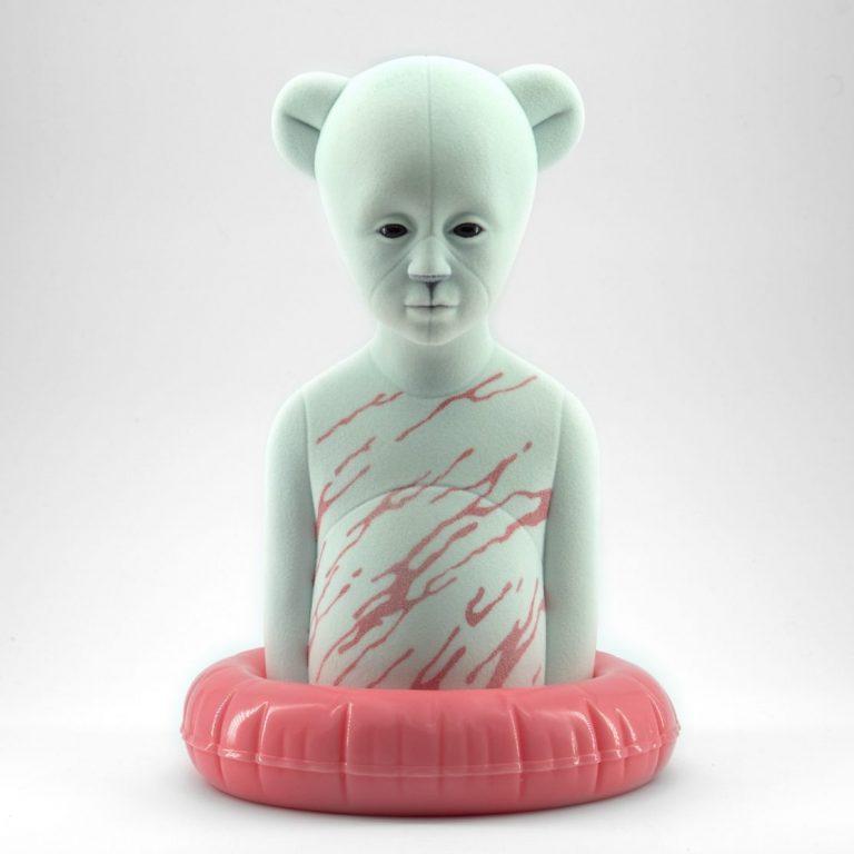 Polar Kid, Mint/Pink, 2020, Sculpture – Resin, flock, 30.0 × 21.0 × 19.5 cm.