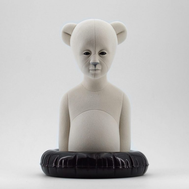 Polar Kid, Original, 2020, Sculpture – Resin, flock, 30.0 × 21.0 × 19.5 cm.