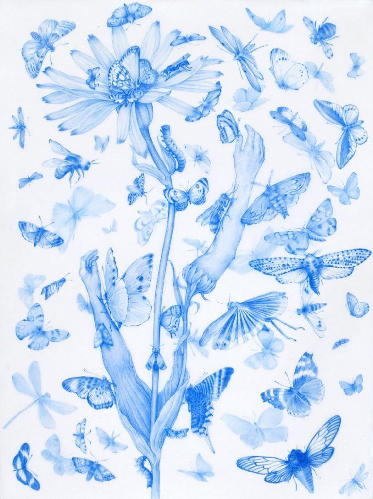 Swarm, from Enigmas Series, 2020, Blue pencil on mylar, 27.9 x 15.2 cm.