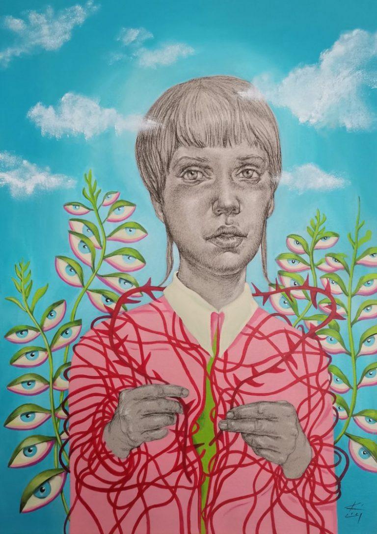 The Wreath, 2021, Pastel pencil, acrylic on paper, 70 х 50 cm.