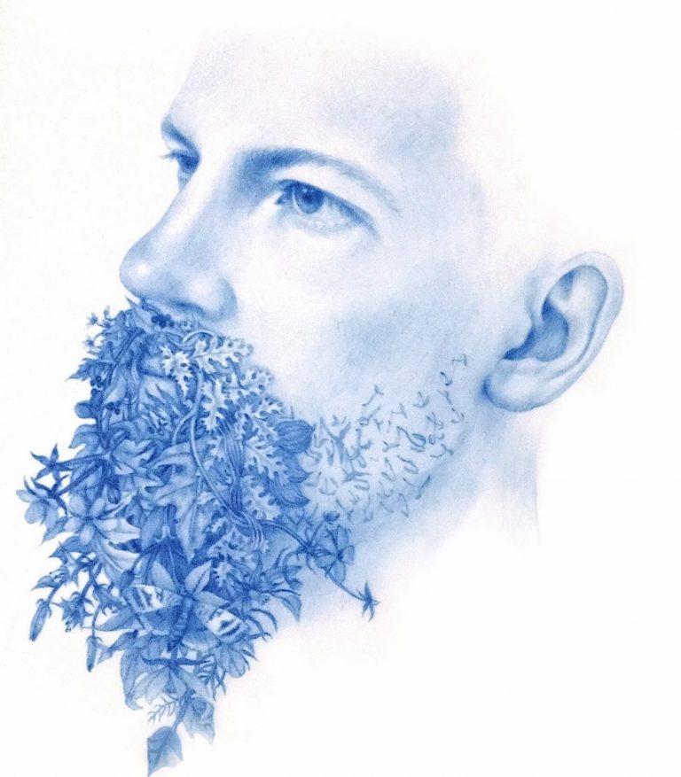 Wild Man 15, 2018, Blue pencil on mylar, 25 x 15 cm