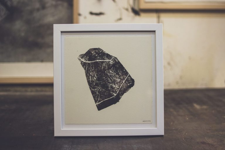 Stones from Different Mountains 3, 2020, Monotype, 20 x 20 cm, framed