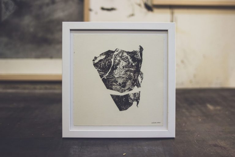 Stones from Different Mountains 4, 2020, Monotype, 20 x 20 cm, framed